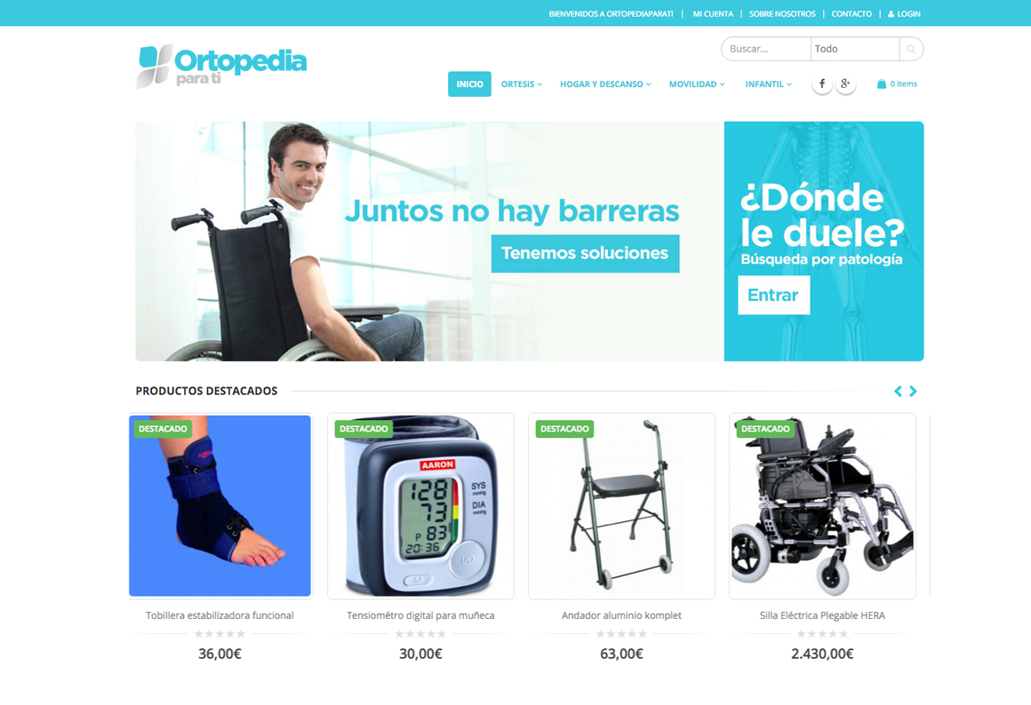 Diseño Tienda Online Ortopediaparati.com